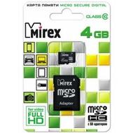 MicroSDHC 04Гб Mirex Класс 10 (адаптер)
