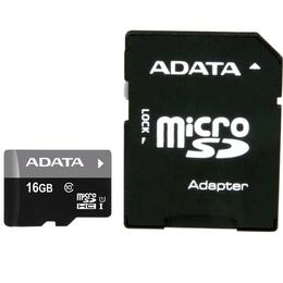 MicroSDHC 16Гб A-Data UHS-I Класс 10 (адаптер)