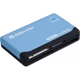 Card reader Defender Ultra (читает 85 типов карт памяти, мини, прорезиненный корпус, 83500)