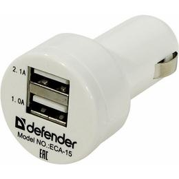 Зарядное устройство Defender ECA-15 White (автомобильноеб 2xUSB, 2,1A)