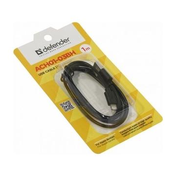 Кабель Defender ACH01-03BH USB(AM)-Lightning (1м) Black