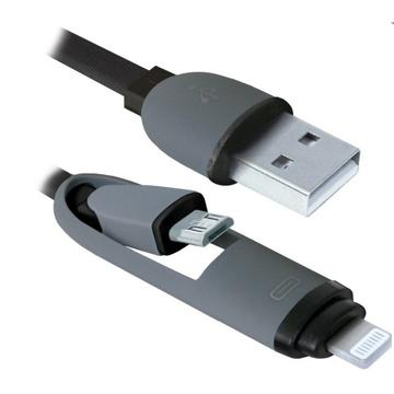 Кабель Defender USB10-03BP USB-microUSB-Lightning M-M Black (1м)