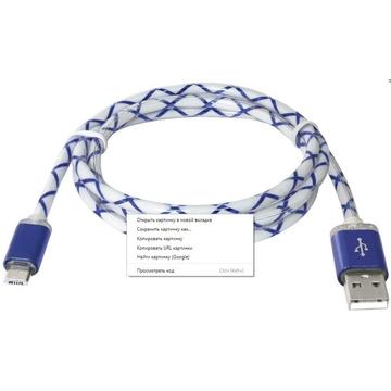 Кабель Defender USB08-03LT LED USB2.0-microUSB (1м) Blue
