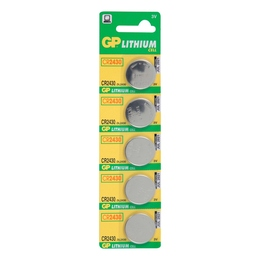 Батарейка GP CR2430-BC5 (литиевая, CR2430, 5 шт., в блистере, 5/100/1000, срок хранения 7 лет)