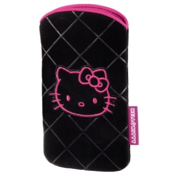 Чехол Hama Hello Kitty Black Pink (для моб. телефонов, 12.3x6.7x1.0 см, велюр, H-107322)