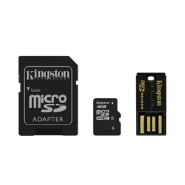 MicroSDHC 04Гб Kingston Multi-Kit Класс 4 (адаптеры miniSD, SD, USB-ридер G2)