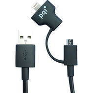Кабель PQI i-Cable Du-Plug 15 Black (USB-microUSB/Lightning, 15см.)