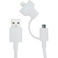 Кабель PQI i-Cable Du-Plug 15 White (USB-microUSB/Lightning, 15см.)