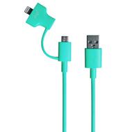 Кабель PQI i-Cable Du-Plug 90 Blue (USB-microUSB/Lightning, 90см.)