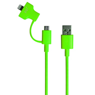 Кабель PQI i-Cable Du-Plug 90 Green (USB-microUSB/Lightning, 90см.)