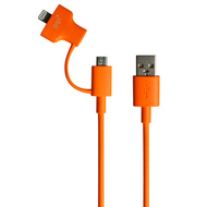 Кабель PQI i-Cable Du-Plug 90 Orange (USB-microUSB/Lightning, 90см.)