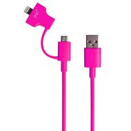 Кабель PQI i-Cable Du-Plug 90 Pink (USB-microUSB/Lightning, 90см.)