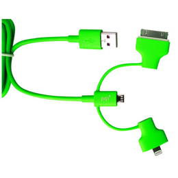 Кабель PQI i-Cable Multi-Plug Green (USB-microUSB/Lightning/30pin, 90см.)