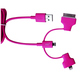 Кабель PQI i-Cable Multi-Plug Pink (USB-microUSB/Lightning/30pin, 90см.)
