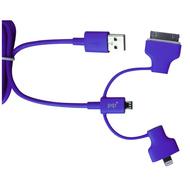 Кабель PQI i-Cable Multi-Plug Purple (USB-microUSB/Lightning/30pin, 90см.)