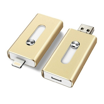 Накопитель USB2.0 Present i-Flash Dual F1 64GB Gold