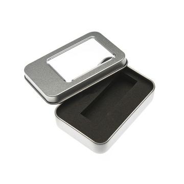 Коробка Present P14 Silver (металл, с прозрачным окном)