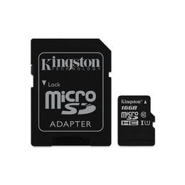 MicroSDHC 16Гб Kingston Класс 10 UHS-I 45MB/s (адаптер)