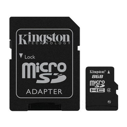 MicroSDHC 16Гб Kingston Класс 4 (адаптер)