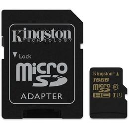MicroSDHC 16Гб Kingston Класс 10 UHS-I U1 (адаптер)
