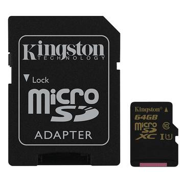 MicroSDXC 64Гб Kingston Класс 10 UHS-I U1 (адаптер)