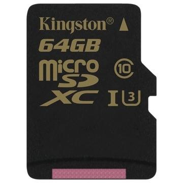 MicroSDXC 64Гб Kingston Класс 10 UHS-I U3 90/45 MB/s (адаптер)