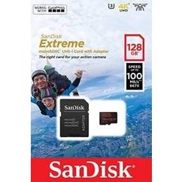 MicroSDXC 128Гб Sandisk Класс 10 UHS-I U3 Extreme for Action Cameras 90MB/s (адаптер)