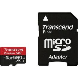 MicroSDXC 128Гб Transcend Класс 10 UHS-I (адаптер)