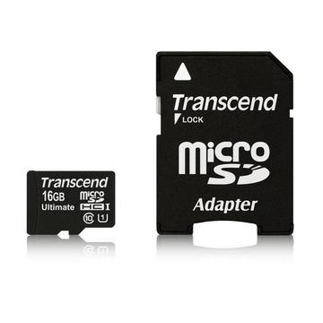 MicroSDHC 16Гб Transcend Класс 10 UHS-I Ultimate 600x (адаптер)