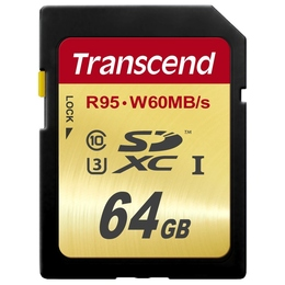 SDXC 64Гб Transcend Класс 10 UHS-I U3