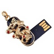 Оригинальная подарочная флешка Present ANIMAL12 32GB (флешка дракон - золотая с красными круглыми камнями)