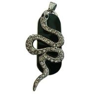 Оригинальная подарочная флешка Present ANIMAL13 128GB (флешка змея ползущая - серебряная на черном фоне, чешуя в виде кристаллов)