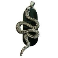 Оригинальная подарочная флешка Present ANIMAL13 04GB (флешка змея ползущая - серебряная на черном фоне, чешуя в виде кристаллов)