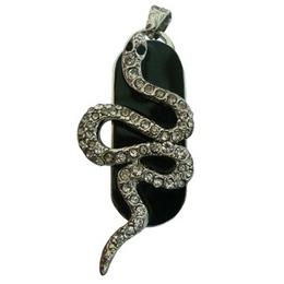 Оригинальная подарочная флешка Present ANIMAL13 64GB (флешка змея ползущая - серебряная на черном фоне, чешуя в виде кристаллов)