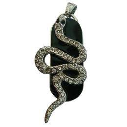 Оригинальная подарочная флешка Present ANIMAL13 08GB (флешка змея ползущая - серебряная на черном фоне, чешуя в виде кристаллов)