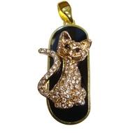 Оригинальная подарочная флешка Present ANIMAL24 16GB (флешка кошка озадаченная - обсыпанная камнями, сидит, хвост в форме доллара)
