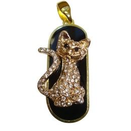 Оригинальная подарочная флешка Present ANIMAL24 04GB (флешка кошка озадаченная - обсыпанная камнями, сидит, хвост в форме доллара)