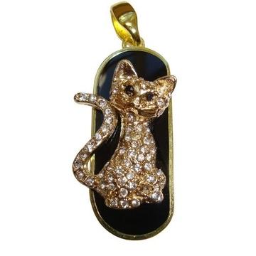 Оригинальная подарочная флешка Present ANIMAL24 64GB (флешка кошка озадаченная - обсыпанная камнями, сидит, хвост в форме доллара)