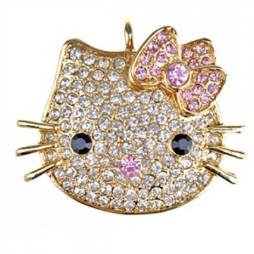 Оригинальная подарочная флешка Present ANIMAL43 08GB Gold (голова кошки)