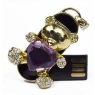 Оригинальная подарочная флешка Present ANIMAL52 128GB Purple (мишка с фиолетовым сердечком)
