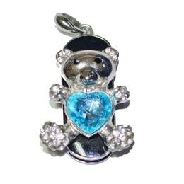 Оригинальная подарочная флешка Present ANIMAL52 32GB Blue (мишка с розовым сердечком)