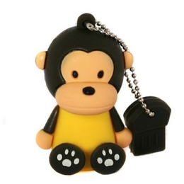 Оригинальная подарочная флешка Present ANIMAL64 128GB Black (обезьянка)