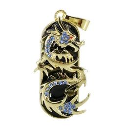 Оригинальная подарочная флешка Present ANIMAL83 32GB Blue (золотой дракон с синими стразами)