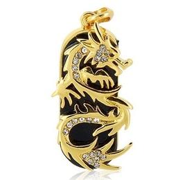 Оригинальная подарочная флешка Present ANIMAL83 32GB (золотой дракон со стразами)
