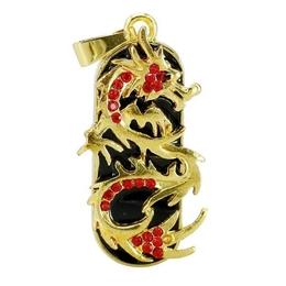 Оригинальная подарочная флешка Present ANIMAL83 32GB Red (золотой дракон с красными стразами)