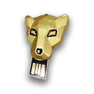 Оригинальная подарочная флешка Present ANIMAL87 128GB Gold (голова тигра)