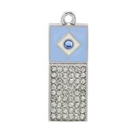 Оригинальная подарочная флешка Present ART02 128GB Blue (арт-флешка с кристаллами и голубым колпачком)