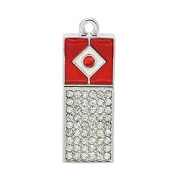 Оригинальная подарочная флешка Present ART02 128GB Red (арт-флешка с кристаллами и красным колпачком)