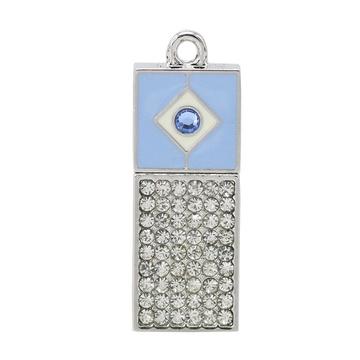 Оригинальная подарочная флешка Present ART02 64GB Blue (арт-флешка с кристаллами и голубым колпачком)