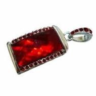 Оригинальная подарочная флешка Present ART31 04GB Dark Red (большой прямоугольный камень-кристалл)